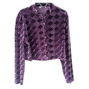 Vintage purple velvet crop top